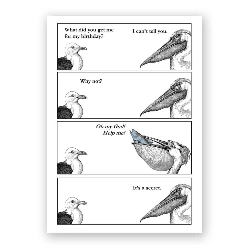 Pelican Comic Birthday Card