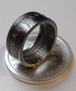 Bugteeth Silver Cannabis Coin-Ring size 9 to 21