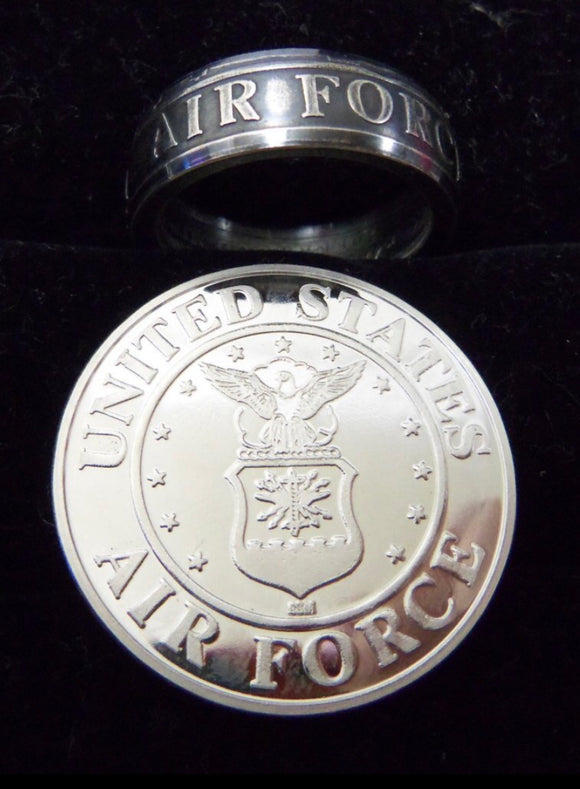 Silver Air Force Coin-Ring