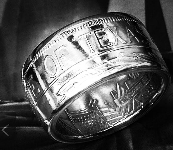 Silver The Great State of Texas Coin-Ring