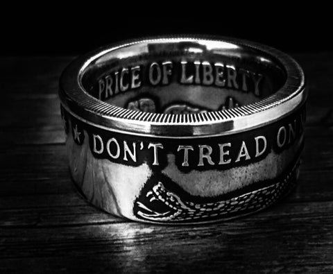 Silver Don't Tread on Me Coin-Ring size 9-21