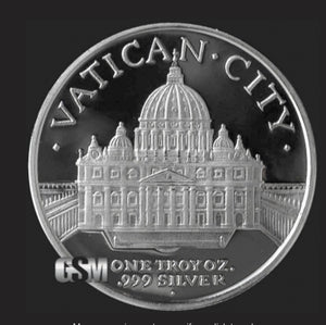 Silver Vatican City Coin-Ring size 9-21