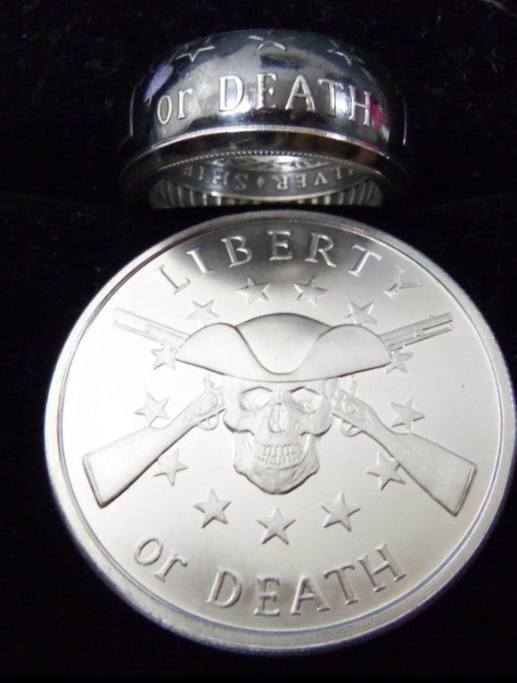 Silver Liberty or Death Coin-Ring