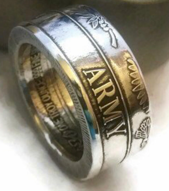 Silver Army Coin-Ring