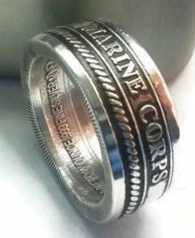 Silver Marine Corps Coin-Ring size 9-21