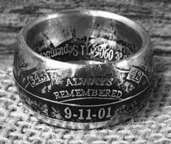 Silver 911 remembrance Coin-Ring