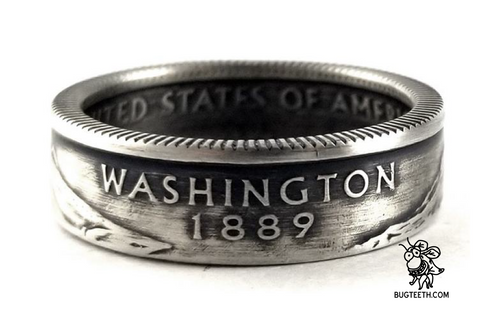 90% Silver State Quarter Coin Ring Sz 4-12 starts with Ve-Wa