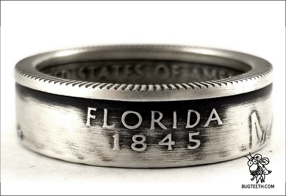 90% Silver State Quarter Coin Ring Sz 4-12 begins with F-Id