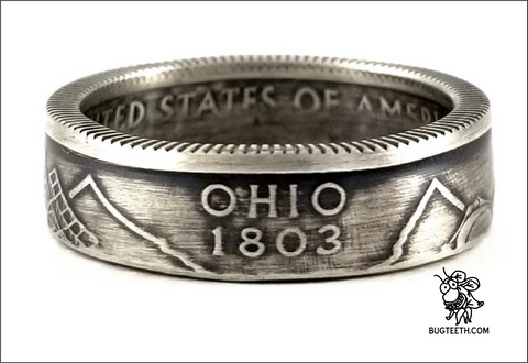 90%Silver State Quarter Coin Ring Sz 4-12 starts with No-Ok