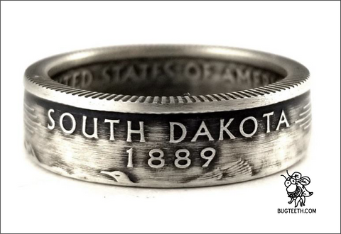 90% Silver State Quarter Coin Ring Sz 4-12 starts with So-U