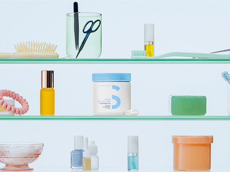 SKIN DISCIPLINE by ZitSticka on bathroom shelf