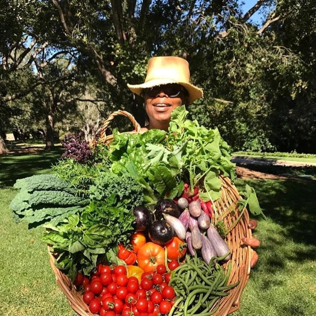 Oprah Winfrey with vegetables