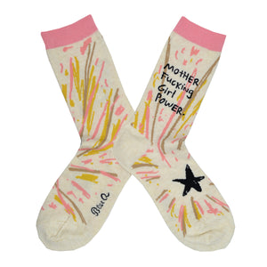 "A pair of cream colored socks lay flat with the words ""Motherfucking Girl Power"" written on the leg and a black star on the foot of this Blue Q cotton crew sock."