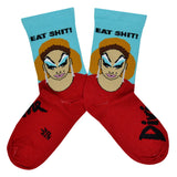 "These blue and red cotton unisex crew socks feature a portrait of the legendary drag queen Divine and the words ""Eat Shit!"" below the cuff."