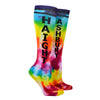 "Shown on a leg form, these rainbow tie dye cotton unisex knee high socks are made by the brand Gumball Poodle and custom tie dyed for us in California. They have the text ""Haight"" running down one leg, and the text ""Ashbury"" running down the other."