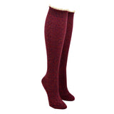 Women's Lace Edged Cable Knit Knee High Socks