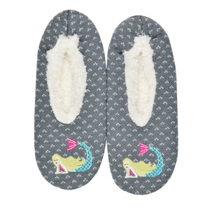 These gray with subtle white specs women's slippers with soft fur lining by the brand K Bell feature a blonde mermaid lounging on the toe.
