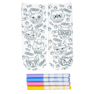 These fun white cotton socks with different silly cats on them come with Crayola fabric markets in purple, blue, pink and yellow to color in your own unique design.