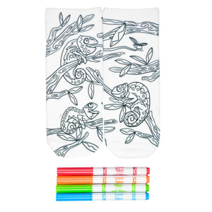 These fun white cotton socks with different chameleons sitting in a tree on them come with Crayola fabric markets in red, orange, green and blue to color in your own unique design.