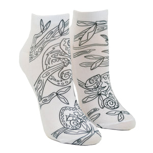 Shown on a leg form, these fun white cotton socks with different chameleons sitting in a tree on them come with Crayola fabric markets in red, orange, green and blue to color in your own unique design.