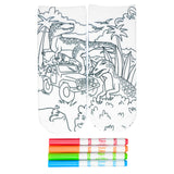 These cool white cotton socks with dinosaurs and a jeep on them come with Crayola fabric markets in red, orange, green and blue to color in your own unique design.