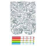 These fun white cotton socks with different junk foods like pizza, ice cream, hot dogs, burgers and fries on them come with Crayola fabric markets in red, orange, green and blue to color in your own unique design.