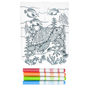 These fun white cotton socks with one large turle spanning both feet in an ocean scene with coral and fish swimming around them come with Crayola fabric markets in red, orange, green and blue to color in your own unique design.