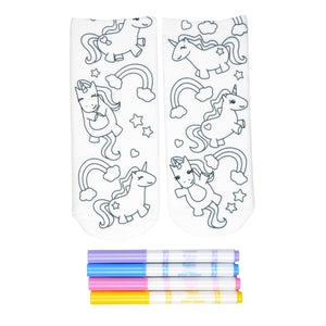 These white cotton socks with fun little unicorns and rainbows on them come with Crayola fabric markets in pastel purple, blue, pink and yellow to color in your own unique design.