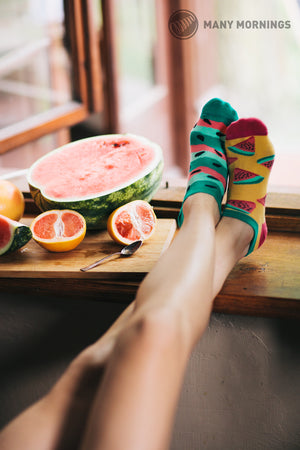 Unisex Mismatched Watermelon Ankle Socks