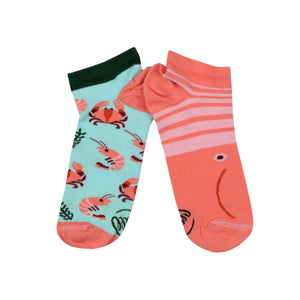 Unisex Mismatched Shrimp Ankle Socks