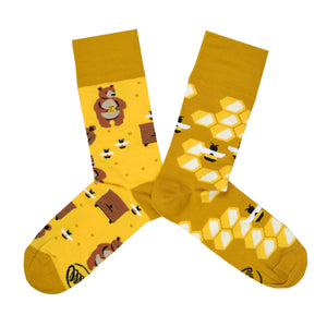Unisex Mismatched Honey Bear Socks