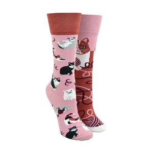 Unisex Mismatched Playful Cat Socks