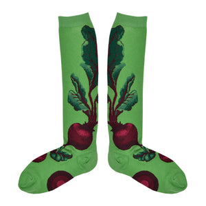 Women's Red Beet Knee High Socks