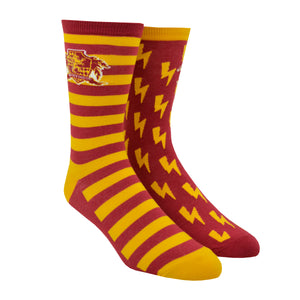 Shown on a leg form, these red and yellow unisex novelty socks by the brand Out of Print feature the Harry Potter house crest for Gryffindor in front of lightening bolds on one sock and stripes on the other.