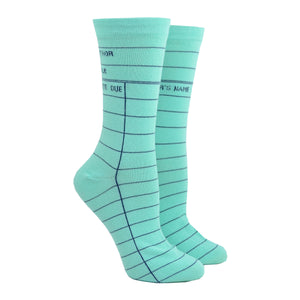 Unisex Mint Library Card Socks