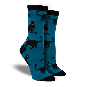 Women's Bamboo Black Cat Socks