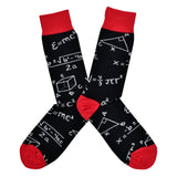 Various math equations like the quadratic formula and the theory of spacial relativity cover a men's black cotton crew sock by Socksmith while displayed as as two socks flat down.