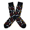 These black cotton men's crew socks by the brand Socksmith feature multi colored medicines, pill bottles, stethoscopes, and needles, making them the perfect gift for a doctor or nurse.
