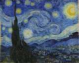 "The classic masterpiece ""Starry Night"" painting by the Dutch Post-Impressionist painter Vincent van Gogh which depicts a swirling yellow night sky above a french village."