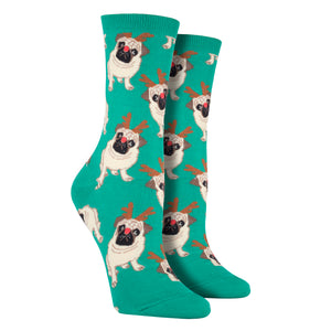 Women's Antler Pug Socks