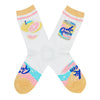 "These white cotton cute women's crew socks with a peach toe and cuff by the brand Yellow Owl Workshop feature a can that says ""La Queen"" on one side, and two grapefruit, one sliced and one whole, on the other side, and near the toe there's peach, pink and light blue swirls that resemble the design of the La Croix can, bubbles and the words ""La Queen""."