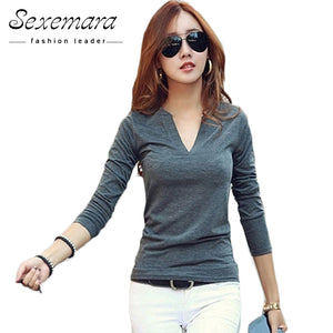 8310592c71910 2017 solid 14 colors V-Neck Blouses Sexy Slim Knitted Long Sleeve Chemise  Femme Korean Tops for Women clothing Shirt Top Blouse