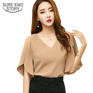 bd8b66dc2a4 2017 summer New casual solid women Chiffon Shirt Female butterfly Sleeve  Korean loose size women blouse top blusas 900C 30