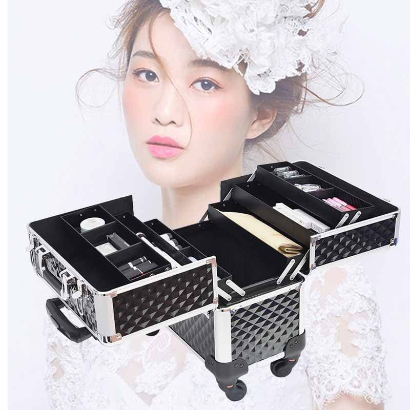 Cosmetic Case Rolling Makeup Train Case - MYTONSEE
