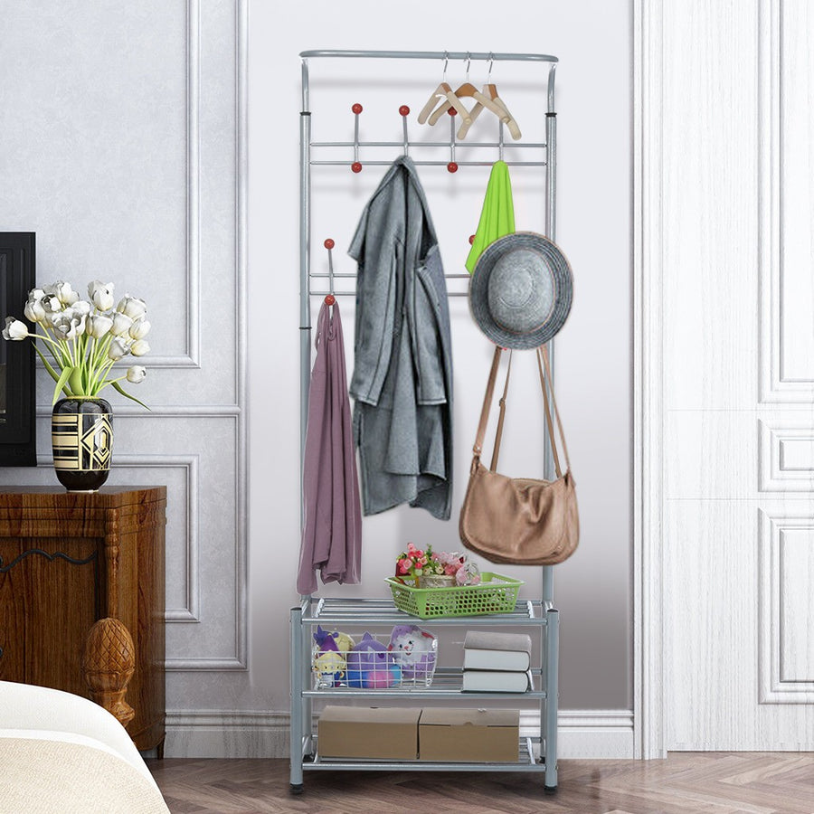 Metal Coat Shoe Rack With 3-Tier Shoe Bench - MYTONSEE