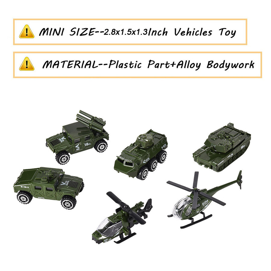 Military Vehicles Model Car Toys Set For Kids (6 Pack) - MYTONSEE