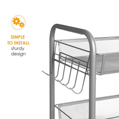3-Tier Mesh Kitchen Utility Cart With Wheels - MYTONSEE