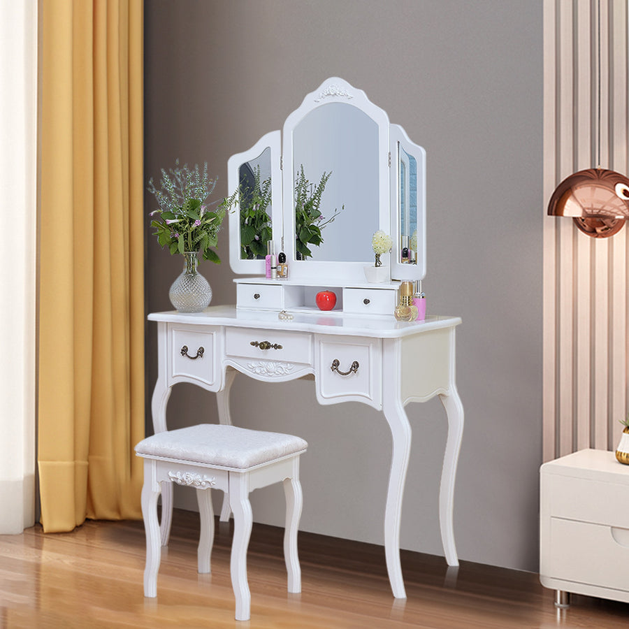 Vanity Makeup Table And Wooden Stool Dresser Set - MYTONSEE