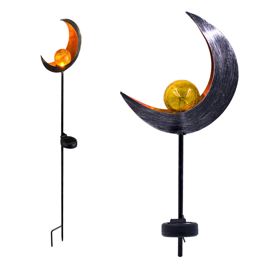 Garden Solar Lights Moon Crackle Glass Globe Stake Lights - MYTONSEE