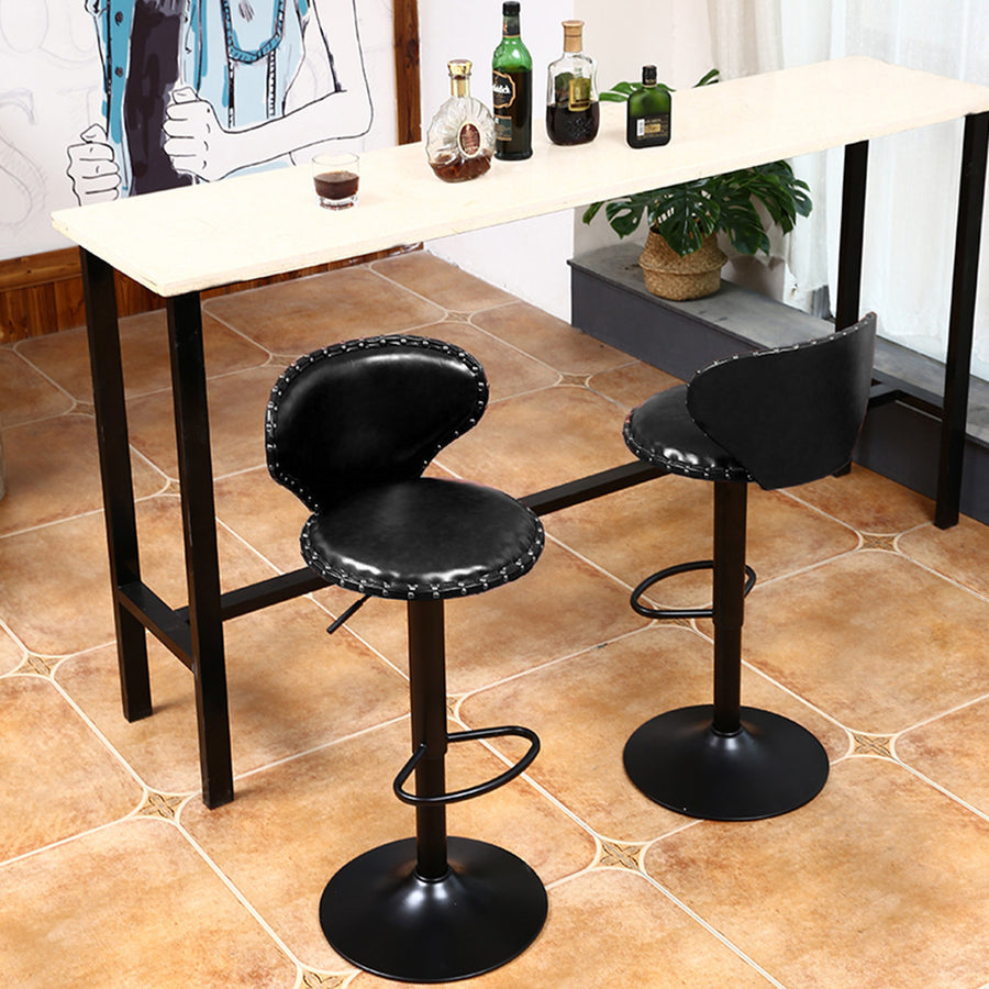 Leather Adjustable Bar Stools Swivel Chairs - MYTONSEE